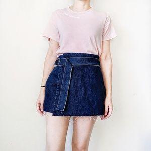 Zara trafaluc denim high waist wrap skort - Size M